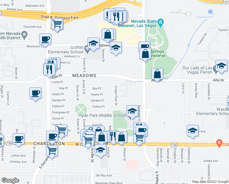 map of restaurants, bars, coffee shops, grocery stores, and more near 604 Cragin Park Drive in Las Vegas