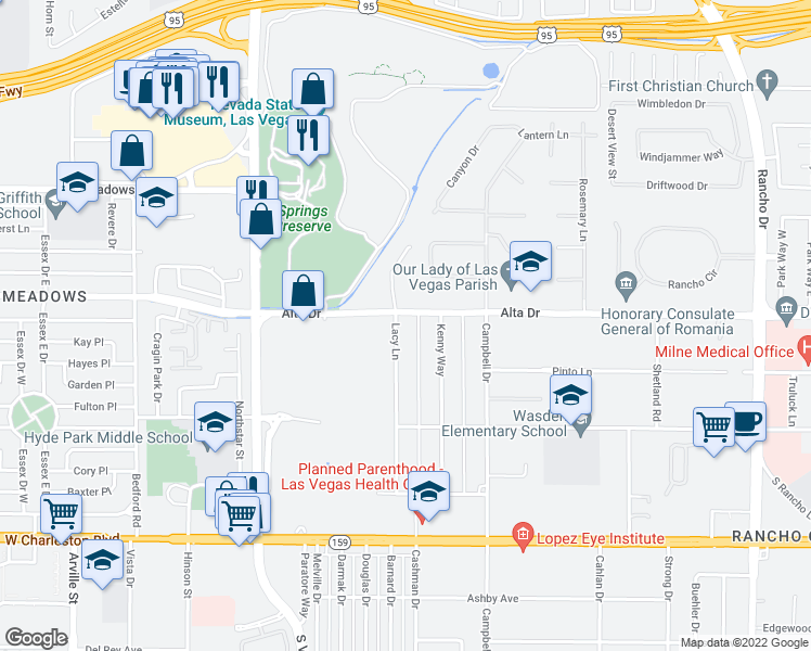 map of restaurants, bars, coffee shops, grocery stores, and more near 509 Lacy Lane in Las Vegas