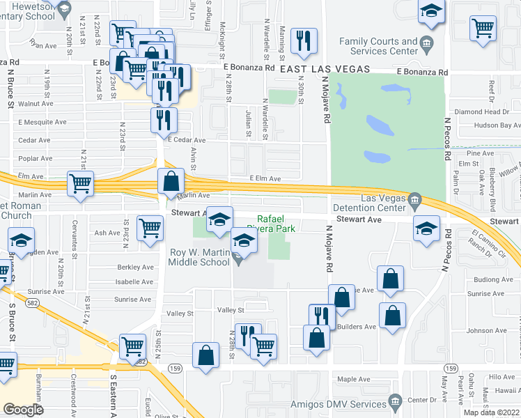 map of restaurants, bars, coffee shops, grocery stores, and more near 2829 Stewart Avenue in Las Vegas