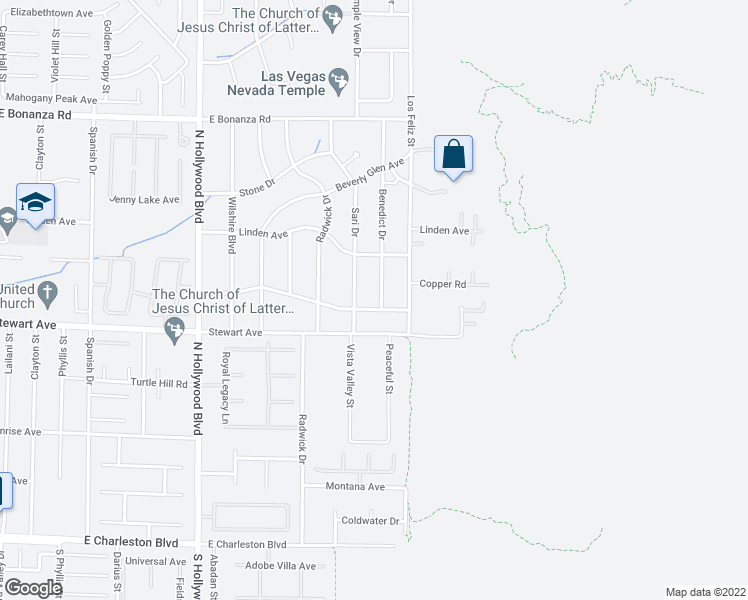 map of restaurants, bars, coffee shops, grocery stores, and more near 463 Benedict Drive in Las Vegas