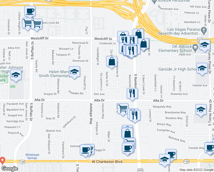map of restaurants, bars, coffee shops, grocery stores, and more near Santa Fe Street in Las Vegas