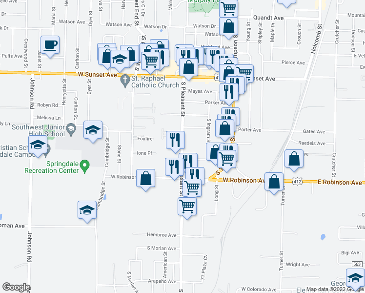map of restaurants, bars, coffee shops, grocery stores, and more near 1809 South Pleasant Street in Springdale