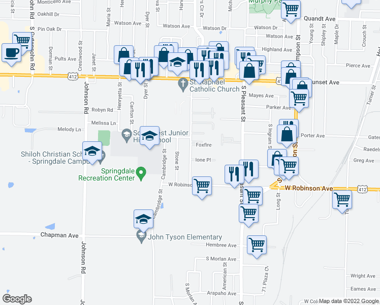 map of restaurants, bars, coffee shops, grocery stores, and more near 1570 Ione Place in Springdale