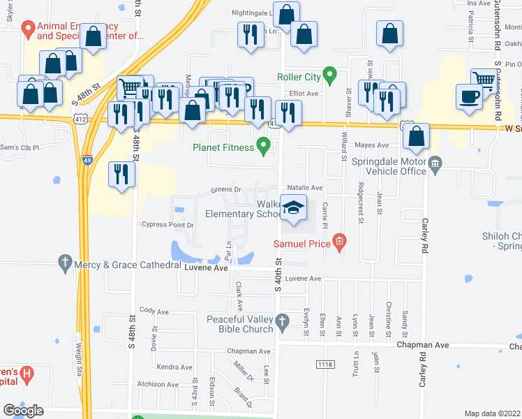 map of restaurants, bars, coffee shops, grocery stores, and more near 4097 Links Drive in Springdale