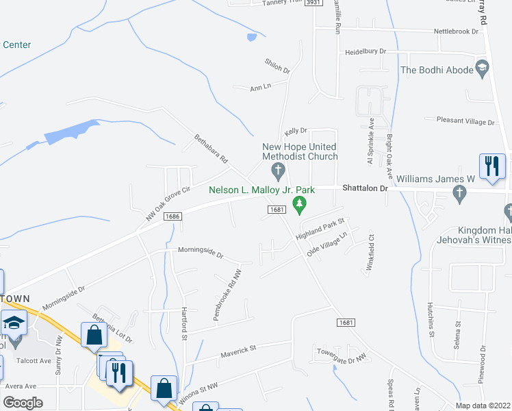 map of restaurants, bars, coffee shops, grocery stores, and more near 2680 Bethabara Road in Winston-Salem