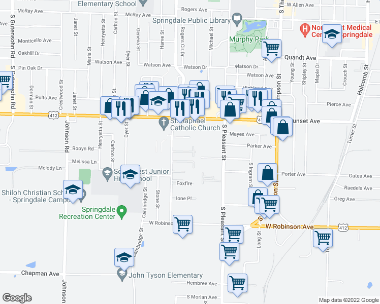 map of restaurants, bars, coffee shops, grocery stores, and more near 1500 Kirsten Drive in Springdale