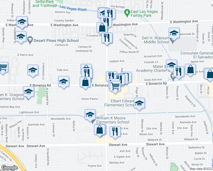 map of restaurants, bars, coffee shops, grocery stores, and more near N Lamb Blvd & E Bonanza Rd in Las Vegas