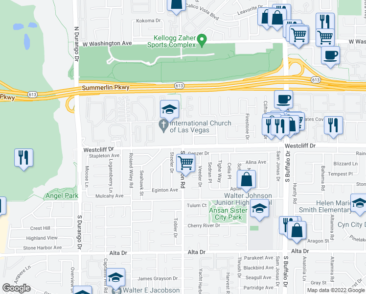 map of restaurants, bars, coffee shops, grocery stores, and more near 3 S Cimarron Rd in Las Vegas