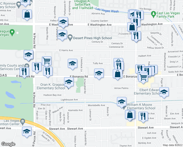 map of restaurants, bars, coffee shops, grocery stores, and more near 4000 East Bonanza Road in Las Vegas