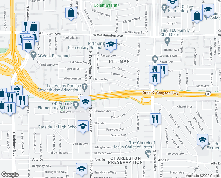 map of restaurants, bars, coffee shops, grocery stores, and more near Oran K. Gragson Freeway in Las Vegas