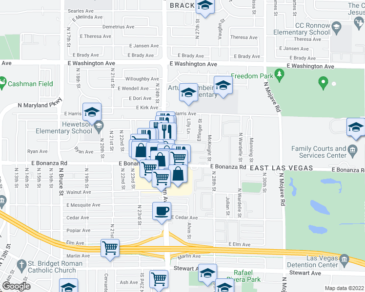 map of restaurants, bars, coffee shops, grocery stores, and more near 651 McKnight Street in Las Vegas
