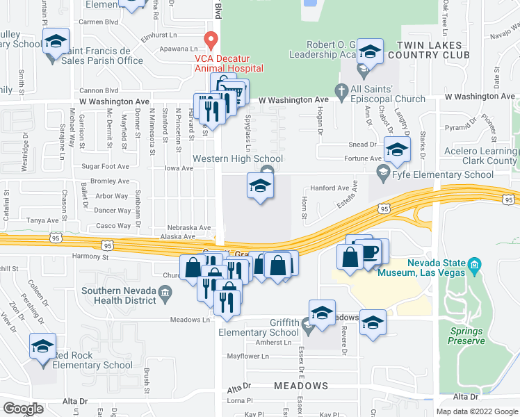 map of restaurants, bars, coffee shops, grocery stores, and more near 4601 West Bonanza Road in Las Vegas