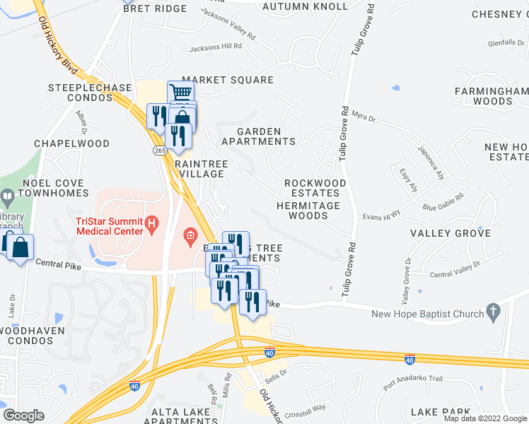 map of restaurants, bars, coffee shops, grocery stores, and more near 1316 Tulip Grove Road in Nashville