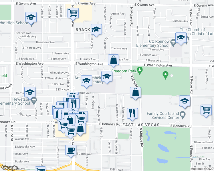 map of restaurants, bars, coffee shops, grocery stores, and more near 2851 East Harris Avenue in Las Vegas