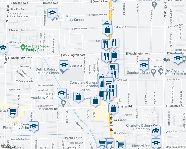 map of restaurants, bars, coffee shops, grocery stores, and more near 816 Dusk Drive in Las Vegas