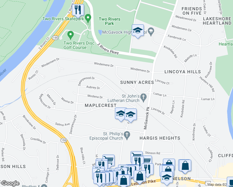 map of restaurants, bars, coffee shops, grocery stores, and more near Dennywood Drive in Nashville