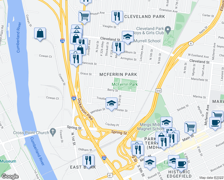 map of restaurants, bars, coffee shops, grocery stores, and more near 602-698 Meridian Street in Nashville