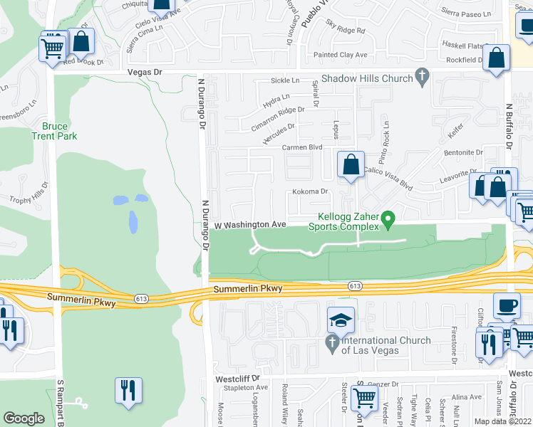 map of restaurants, bars, coffee shops, grocery stores, and more near 913 Seabury Hill Ct in Las Vegas