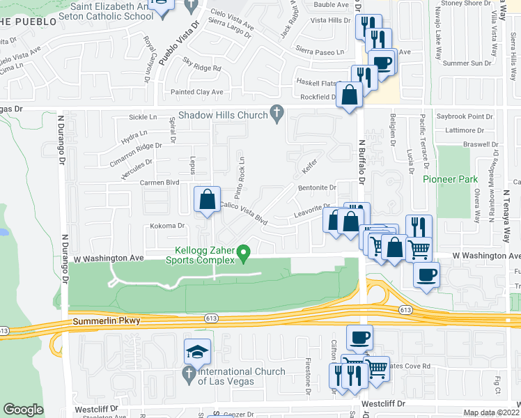 map of restaurants, bars, coffee shops, grocery stores, and more near 1005 Sulphur Springs Ln in Las Vegas