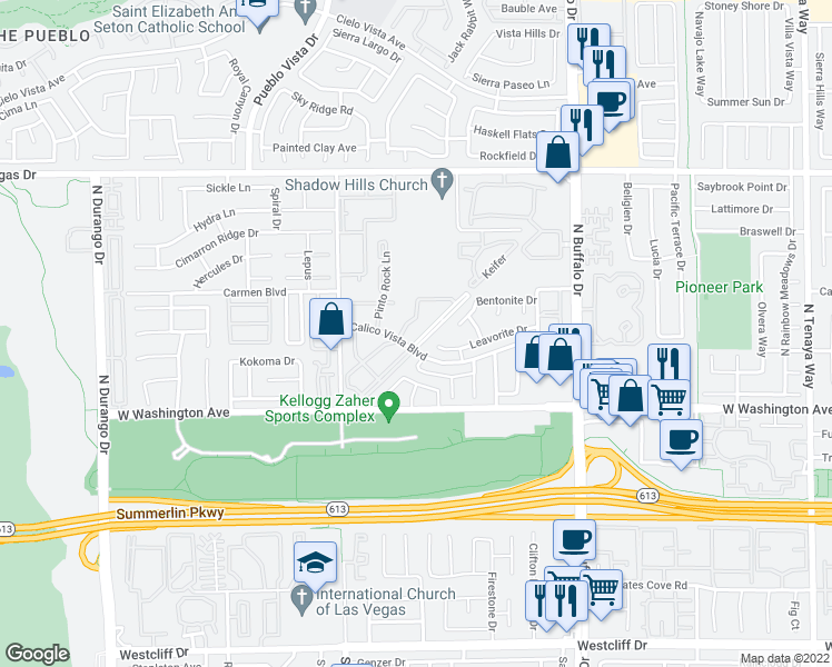 map of restaurants, bars, coffee shops, grocery stores, and more near 1005 Sulphur Springs Lane in Las Vegas