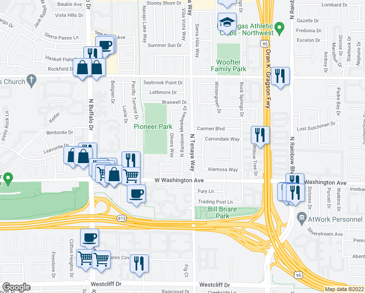 map of restaurants, bars, coffee shops, grocery stores, and more near 1020 Olvera Way in Las Vegas