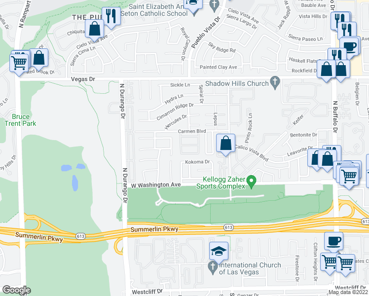 map of restaurants, bars, coffee shops, grocery stores, and more near 8133 Sunset Mill Drive in Las Vegas