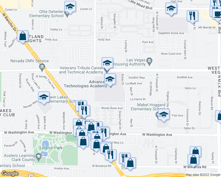 map of restaurants, bars, coffee shops, grocery stores, and more near 2501 Vegas Drive in Las Vegas