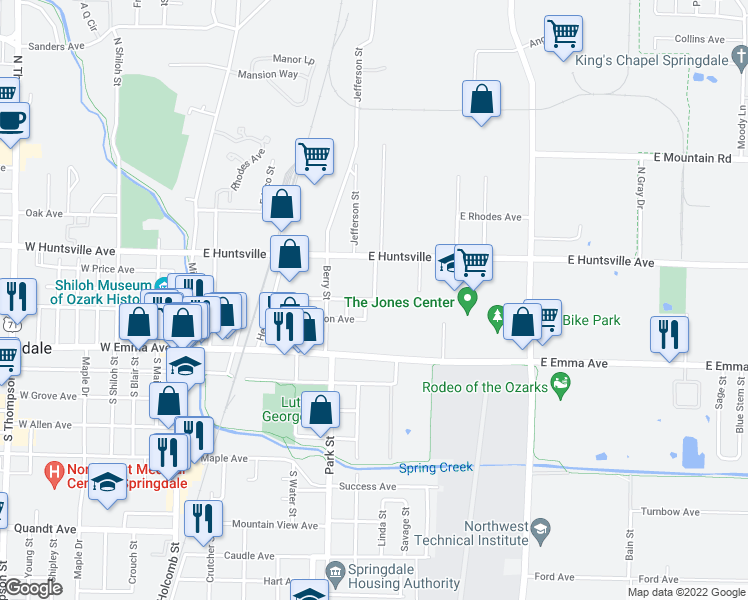 map of restaurants, bars, coffee shops, grocery stores, and more near Laura Street in Springdale