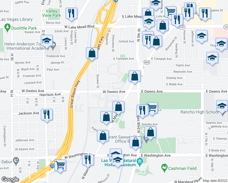 map of restaurants, bars, coffee shops, grocery stores, and more near 13 West Owens Avenue in North Las Vegas