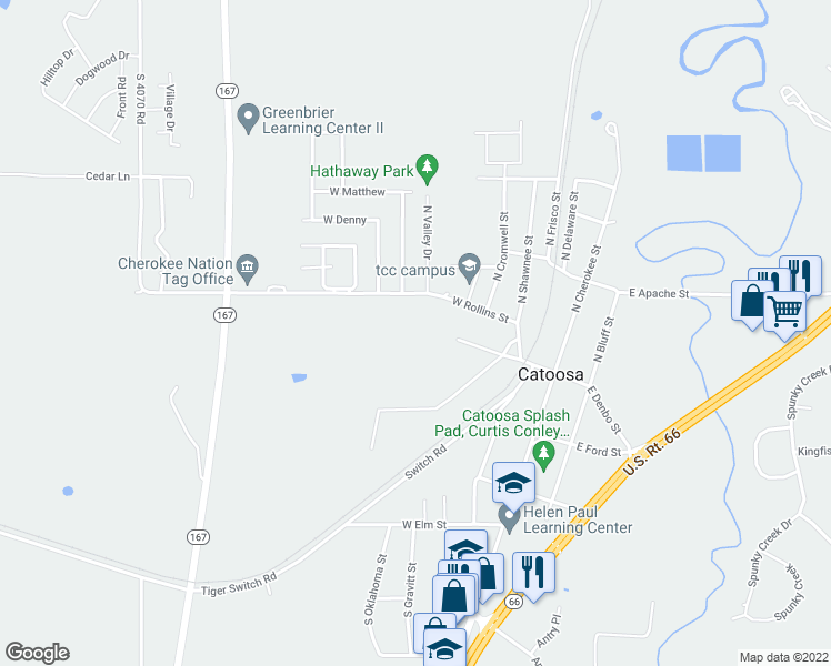 map of restaurants, bars, coffee shops, grocery stores, and more near 352 South Shawnee Street in Catoosa