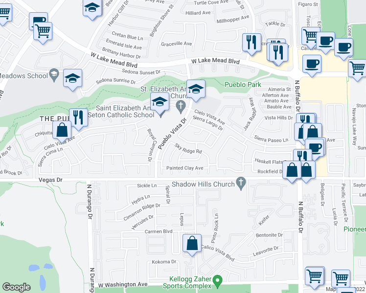 map of restaurants, bars, coffee shops, grocery stores, and more near 8020 Sky Ridge Road in Las Vegas