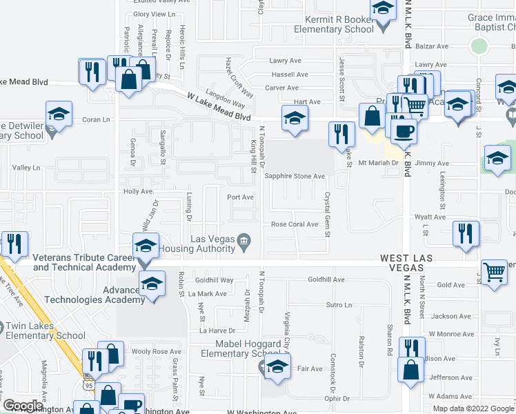 map of restaurants, bars, coffee shops, grocery stores, and more near 1820 Taylor Hill Street in Las Vegas