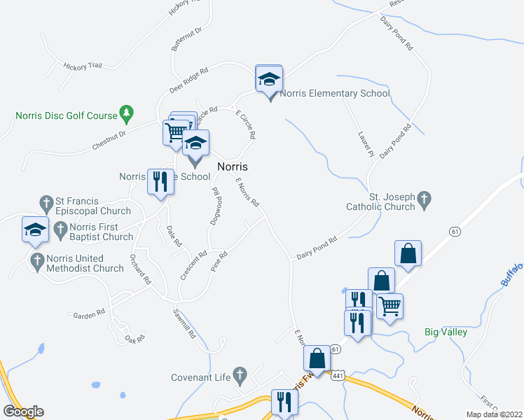 map of restaurants, bars, coffee shops, grocery stores, and more near 25 East Norris Road in Norris