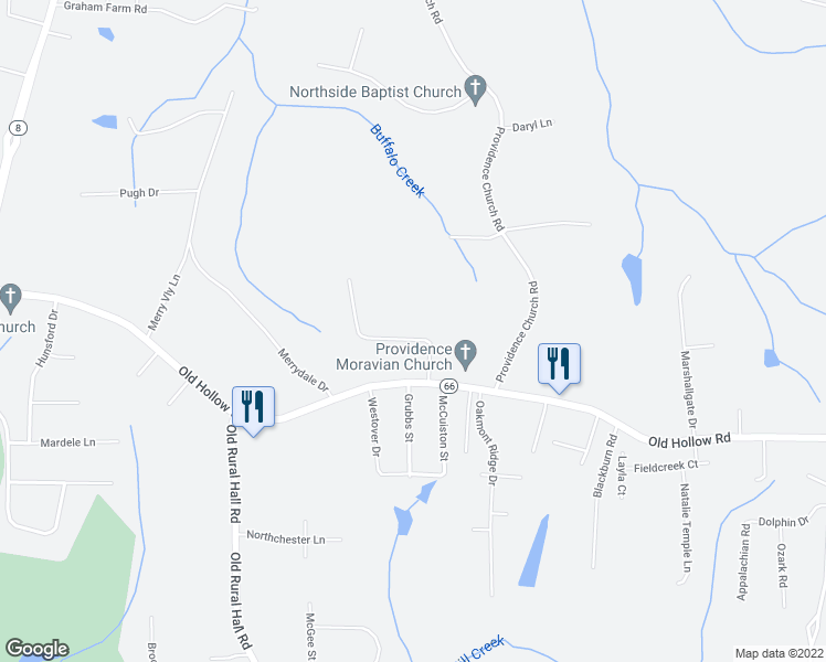 map of restaurants, bars, coffee shops, grocery stores, and more near 5643 Sandhill Drive in Winston-Salem