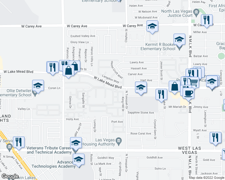 map of restaurants, bars, coffee shops, grocery stores, and more near Citrus Hills Avenue in Las Vegas