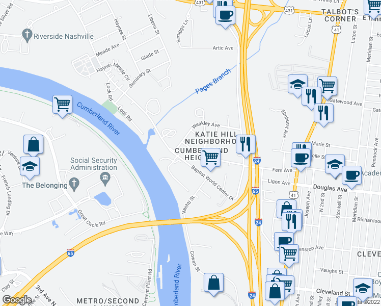 map of restaurants, bars, coffee shops, grocery stores, and more near 122 Fern Avenue in Nashville