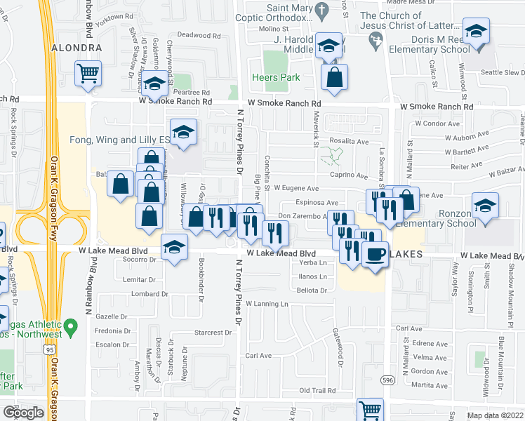 map of restaurants, bars, coffee shops, grocery stores, and more near 2104 Conchita Street in Las Vegas