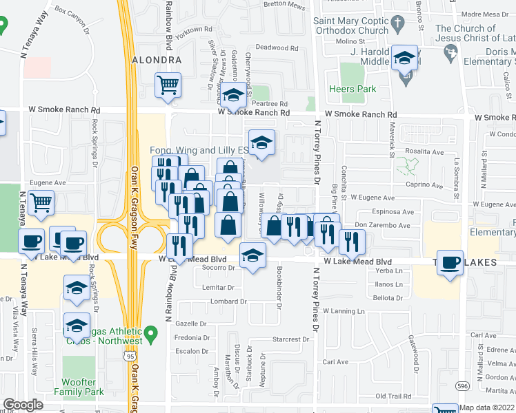 map of restaurants, bars, coffee shops, grocery stores, and more near 2117 Willowbury Drive in Las Vegas