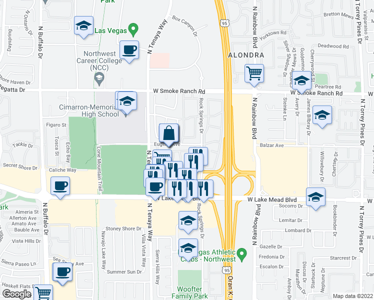 map of restaurants, bars, coffee shops, grocery stores, and more near 2150 North Tenaya Way in Las Vegas