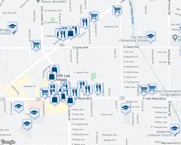 map of restaurants, bars, coffee shops, grocery stores, and more near North Mc Carran Street in North Las Vegas
