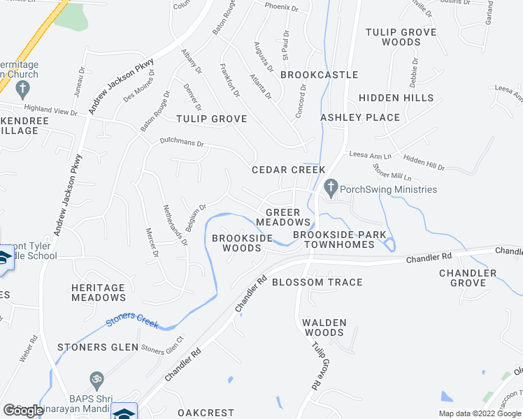 map of restaurants, bars, coffee shops, grocery stores, and more near Scotts Creek Pw in Nashville