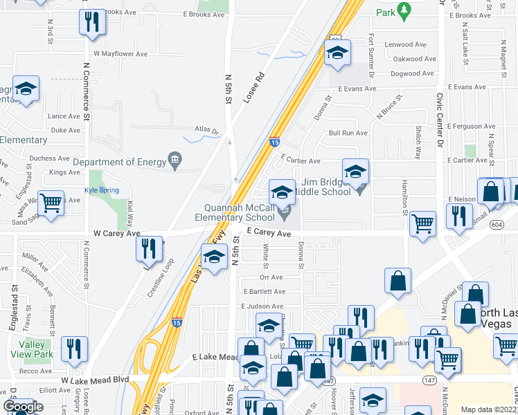 map of restaurants, bars, coffee shops, grocery stores, and more near 711 East Nelson Avenue in North Las Vegas