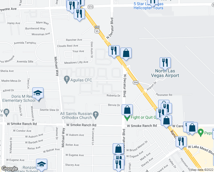 map of restaurants, bars, coffee shops, grocery stores, and more near 5067 Madre Mesa Drive in Las Vegas