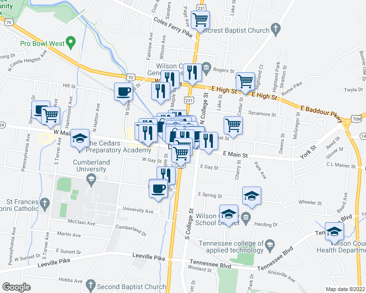 map of restaurants, bars, coffee shops, grocery stores, and more near in Lebanon
