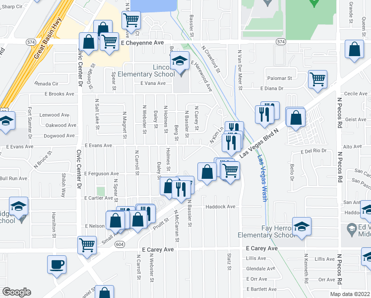 map of restaurants, bars, coffee shops, grocery stores, and more near 2725 East Evans Avenue in North Las Vegas