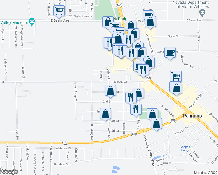 map of restaurants, bars, coffee shops, grocery stores, and more near 484-548 West Street in Pahrump