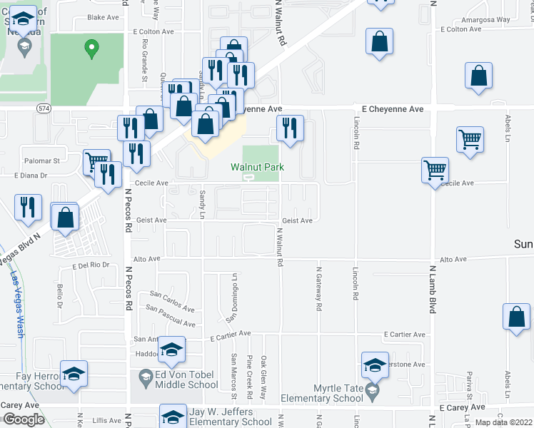 map of restaurants, bars, coffee shops, grocery stores, and more near Soda Springs Drive in Las Vegas