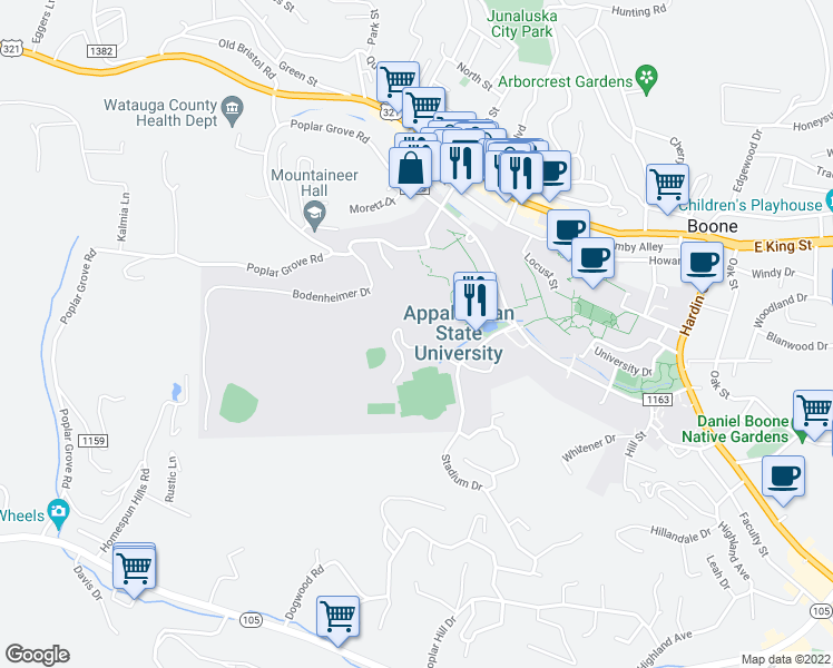 map of restaurants, bars, coffee shops, grocery stores, and more near 388 Stadium Heights Drive in Boone