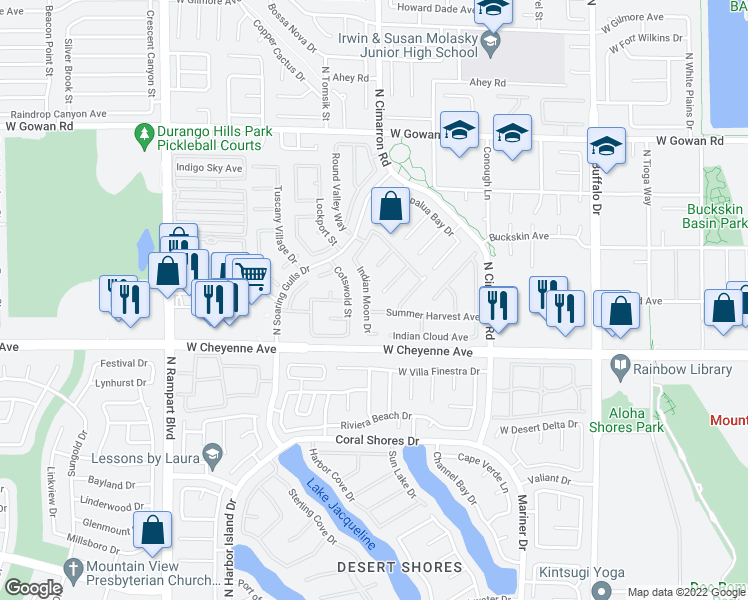 map of restaurants, bars, coffee shops, grocery stores, and more near 3312 Indian Moon Drive in Las Vegas
