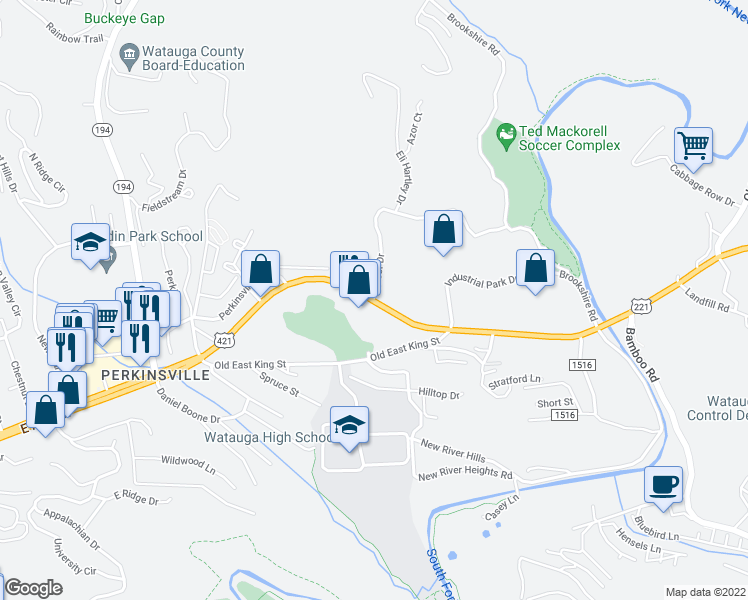 map of restaurants, bars, coffee shops, grocery stores, and more near U.S. 421 & Yosef Dr in Boone